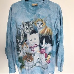 Vintage 90s tie dye cat shirt L XL lazy oaf
